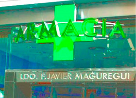 Rotulo cruz farmacia letras de mateoRotulos